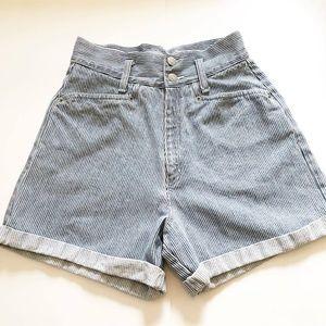 {Vintage} blue pinstripe high waisted shirts sz 4